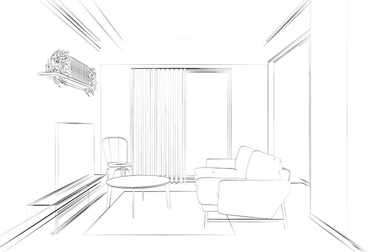 直線的なデザインの家具のあるリビングの白黒スケッチ