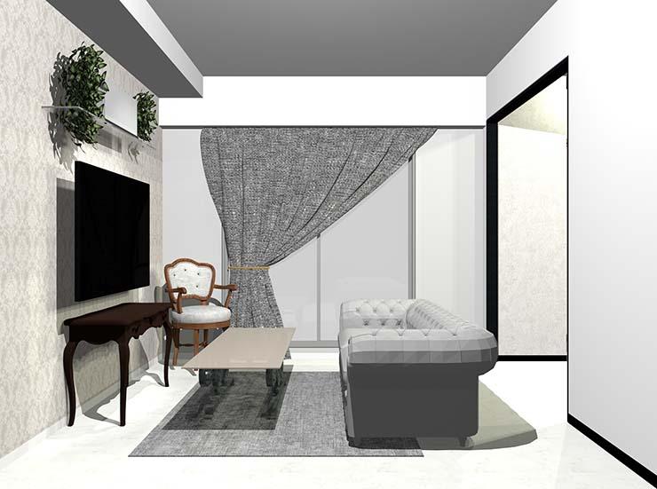 ホワイトの大理石調床の曲線的なアンティーク家具のあるリビング