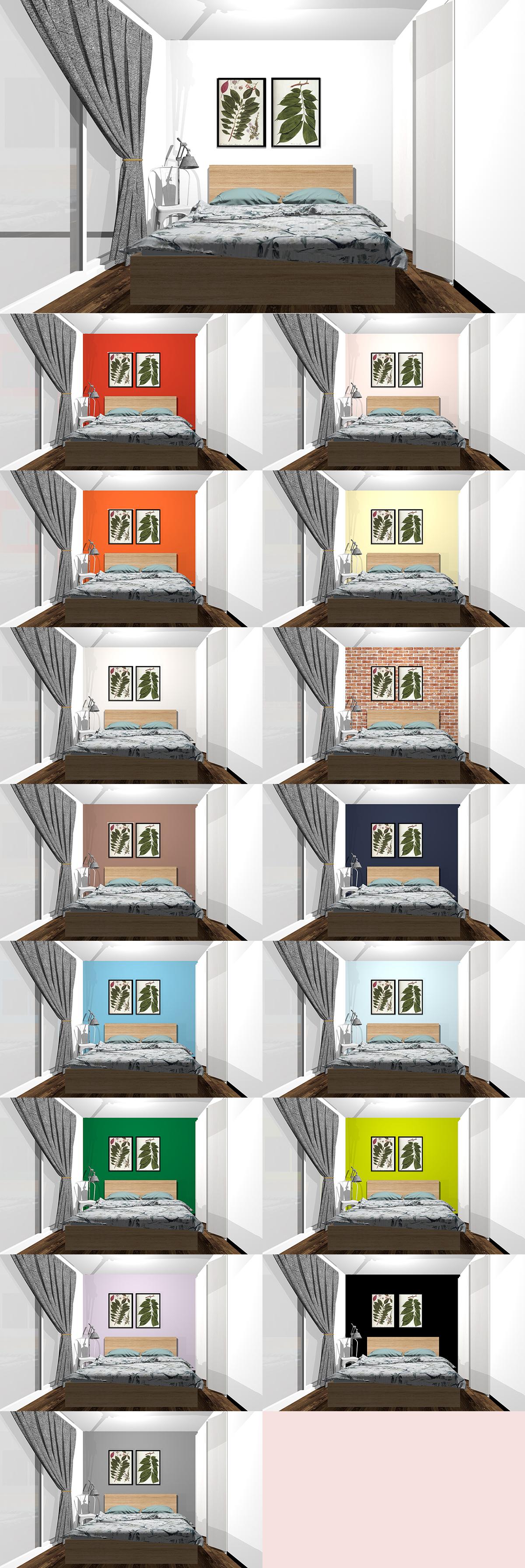 寝室の壁紙15種類の色の比較
