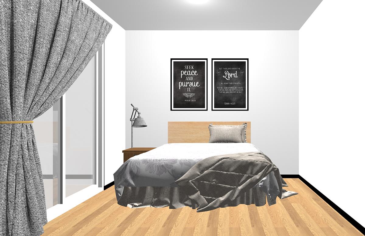 ヘッドボードの上にポスターを2枚飾った寝室
