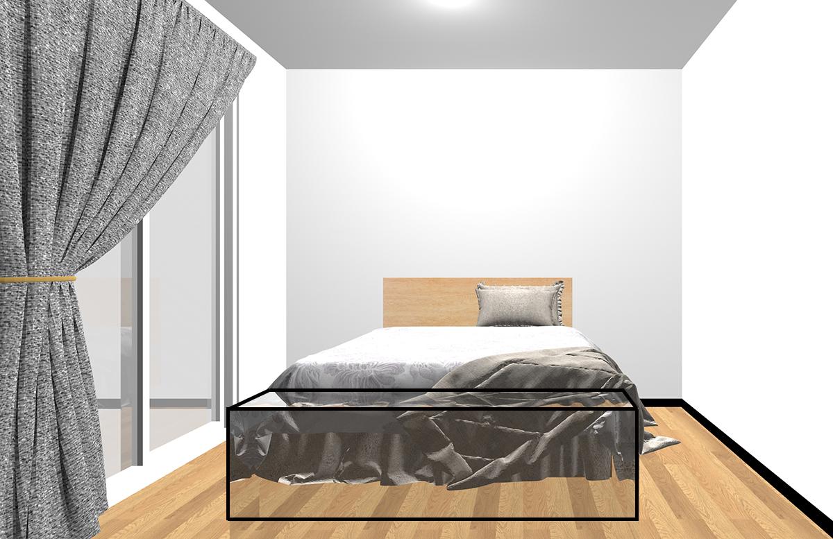 ベッドの足側のスペース