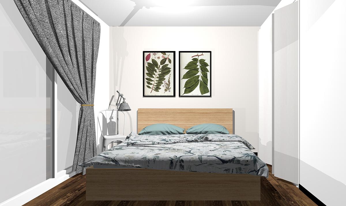 ベージュ・アイボリーの壁紙の寝室