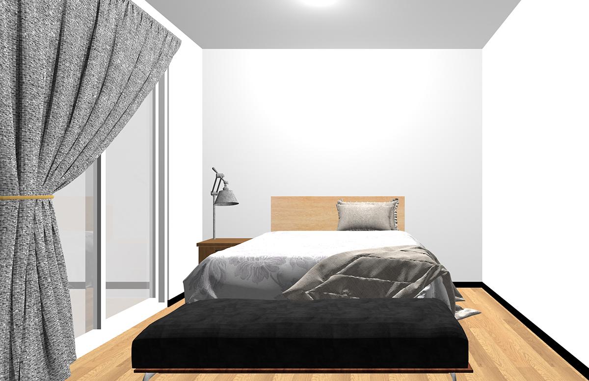 ベッドの足側にベンチを置いた寝室