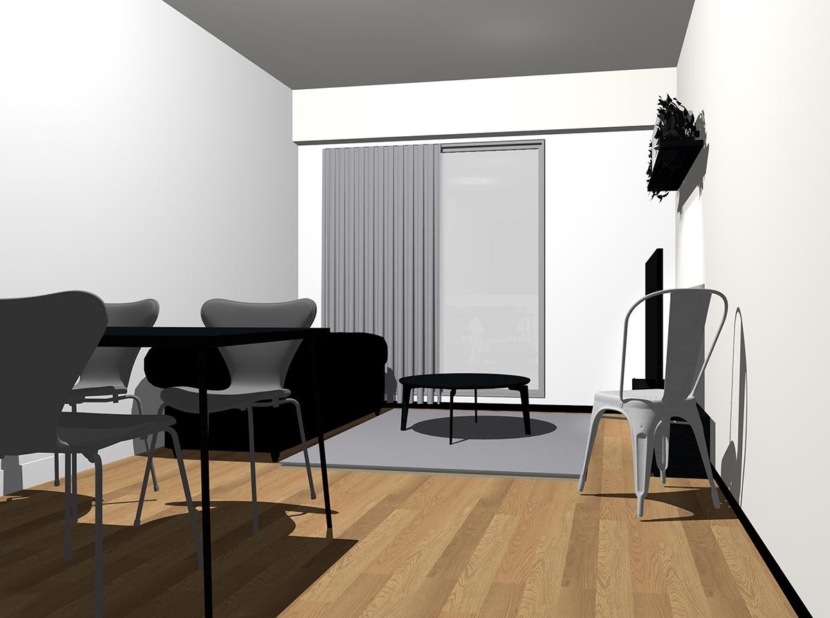 黒のソファとグレーのラグ