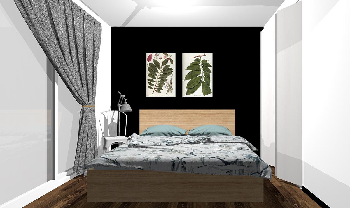 ブラックの壁紙の寝室