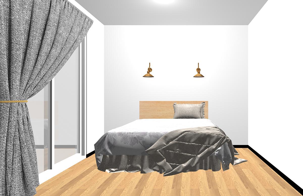 ベッドの頭側の壁面にブラケットランプをつけた寝室