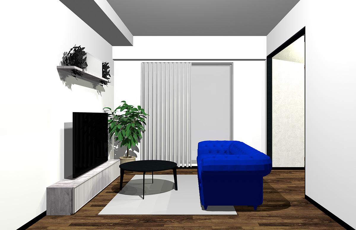 鮮やかなブルーのソファの北欧インテリア