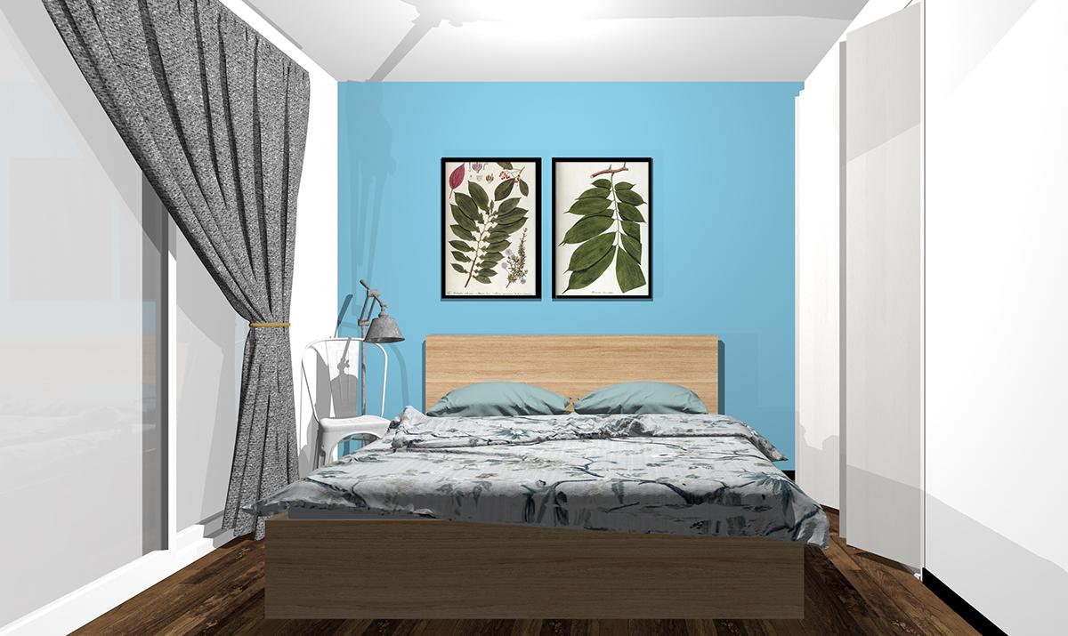 ブルーの壁紙の寝室