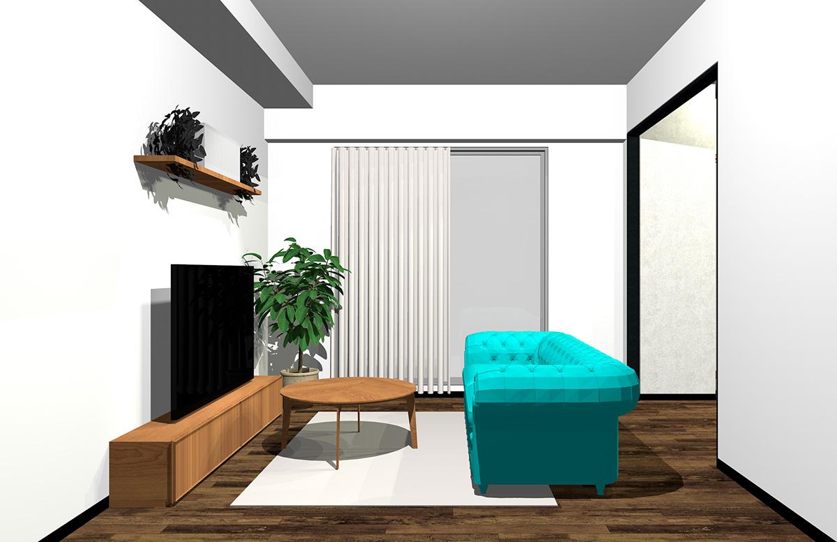鮮やかな色のソファのみのリビング
