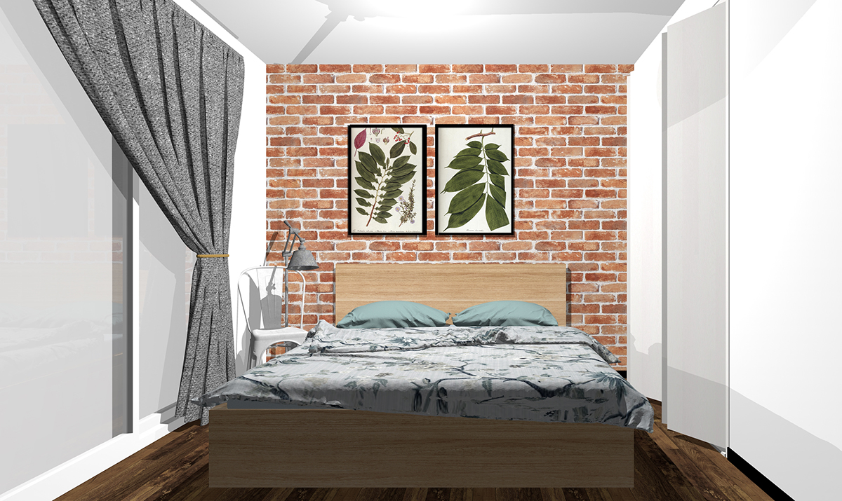 素材感のあるブラウンの壁紙の寝室