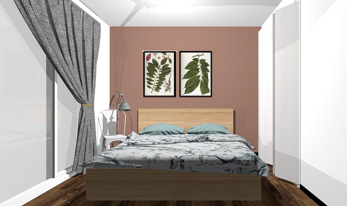 単色ブラウンの壁紙の寝室