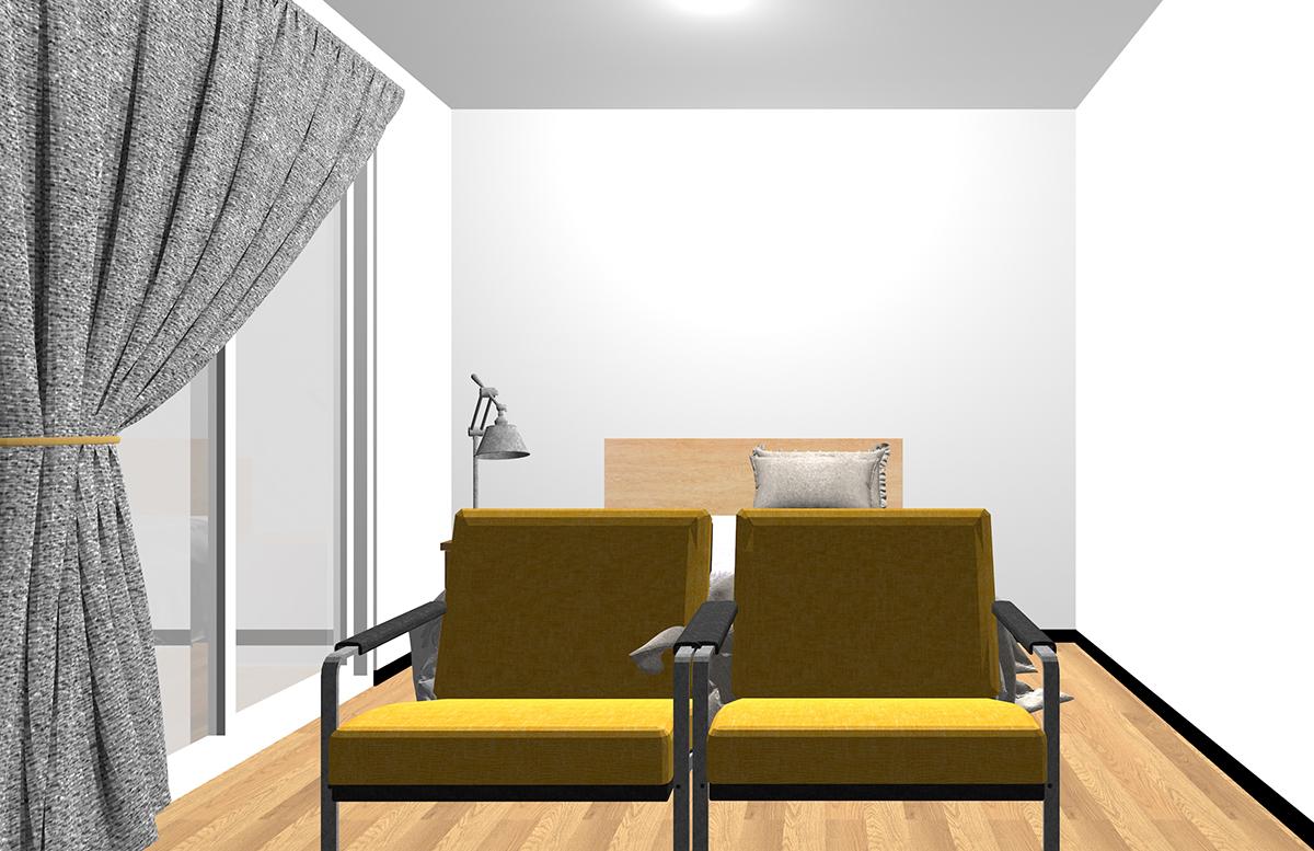 ベッドの足側にアームチェアを2脚置いた寝室
