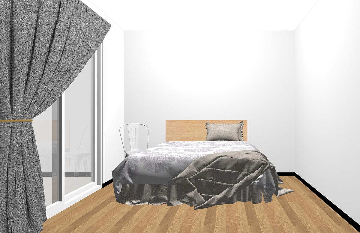ベッドサイドにチェアを置いた寝室