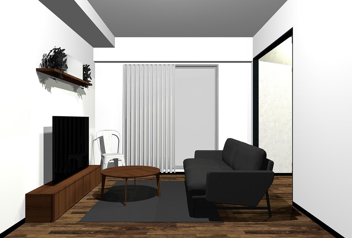 ダークブラウンの床とダークブラウンの木目の家具