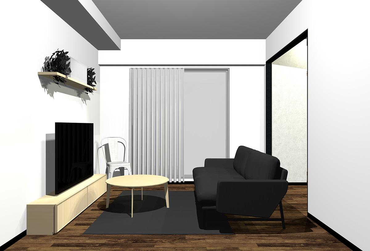 ダークブラウンの床とライトブラウンの木目の家具