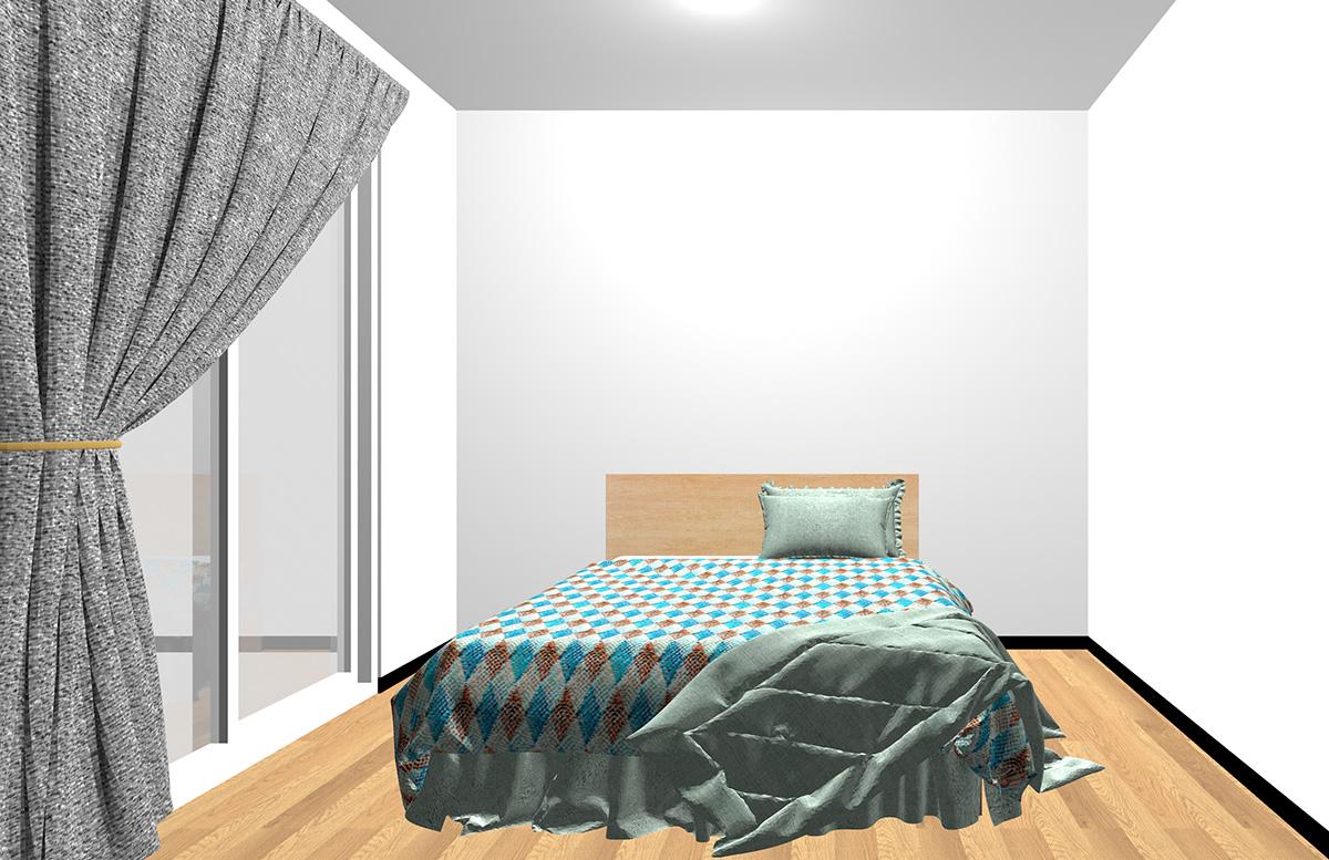 幾何学模様のベッドカバーをコーディネートした寝室