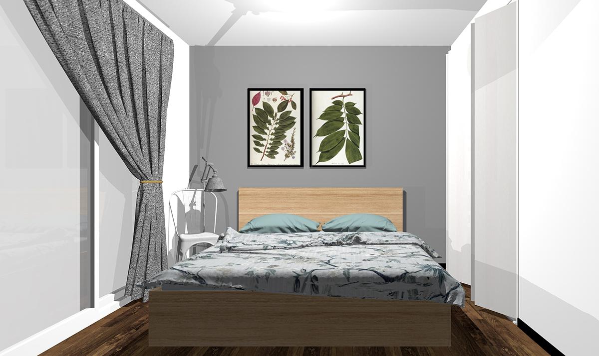 グレーの壁紙の寝室
