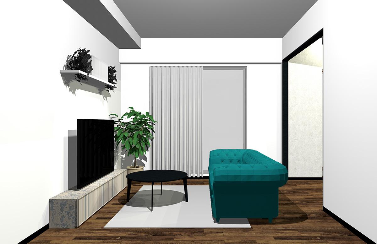 鮮やか過ぎない色のソファとグレーや黒を足したリビング