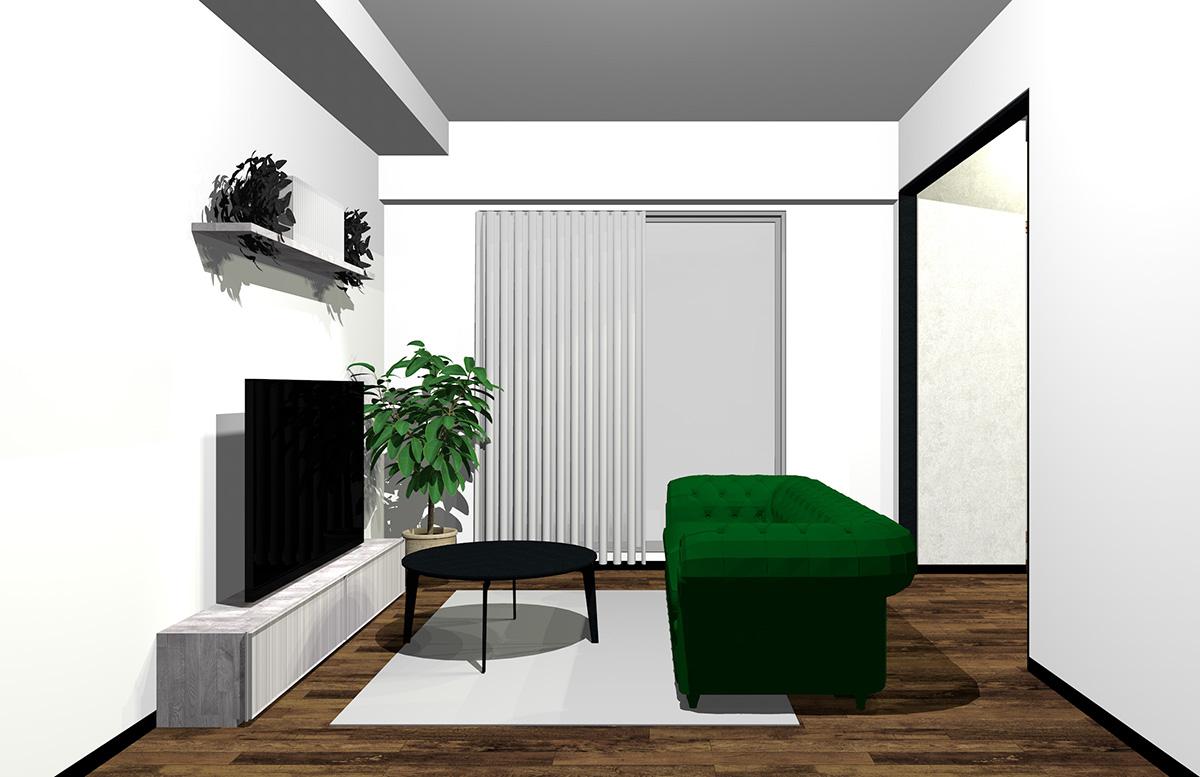 グリーンのソファの北欧インテリア