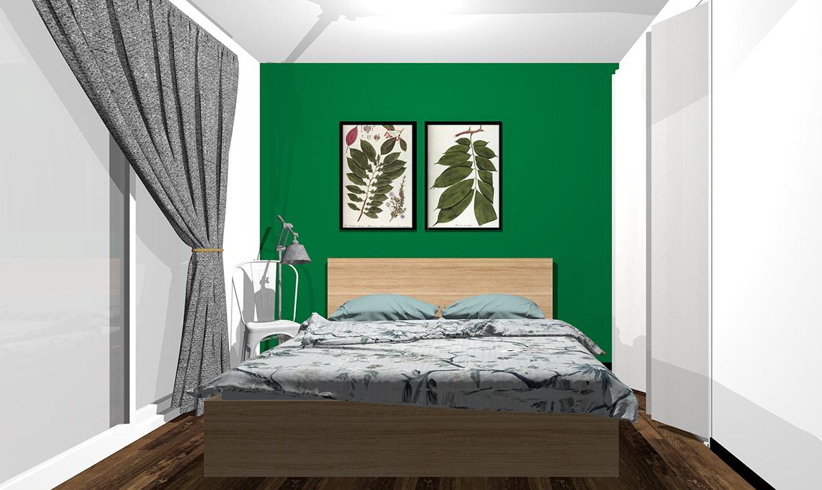 グリーンの壁紙の寝室
