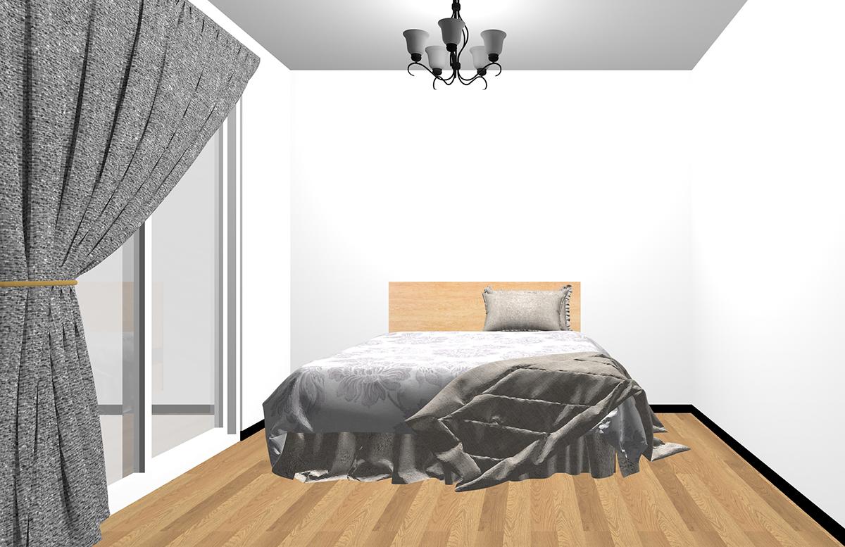 アンティークなペンダントランプをコーディネートした寝室
