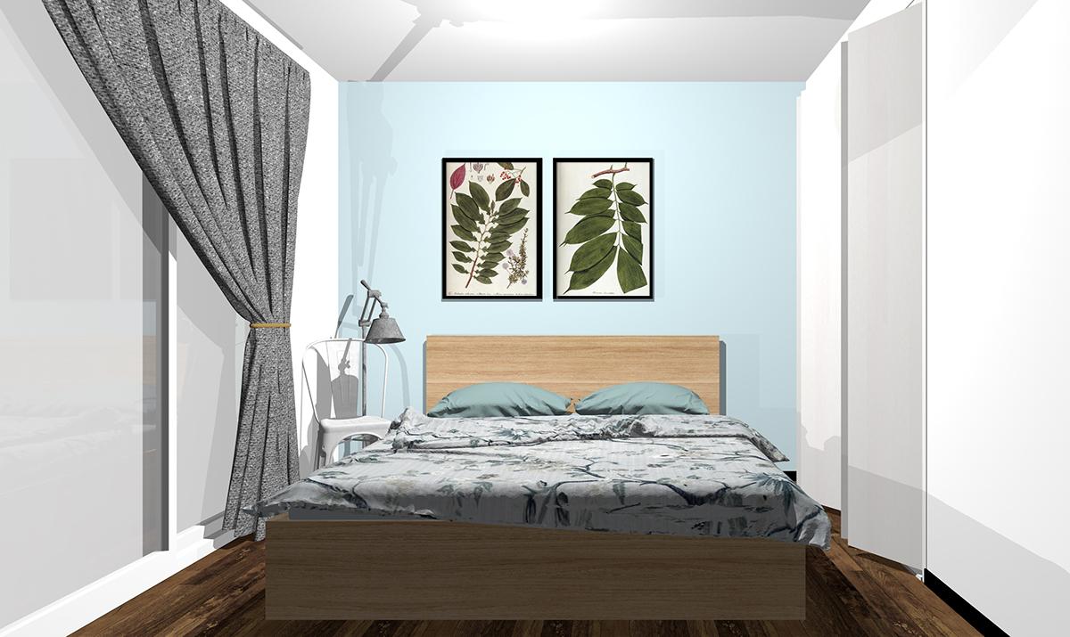 ライトブルーの壁紙の寝室