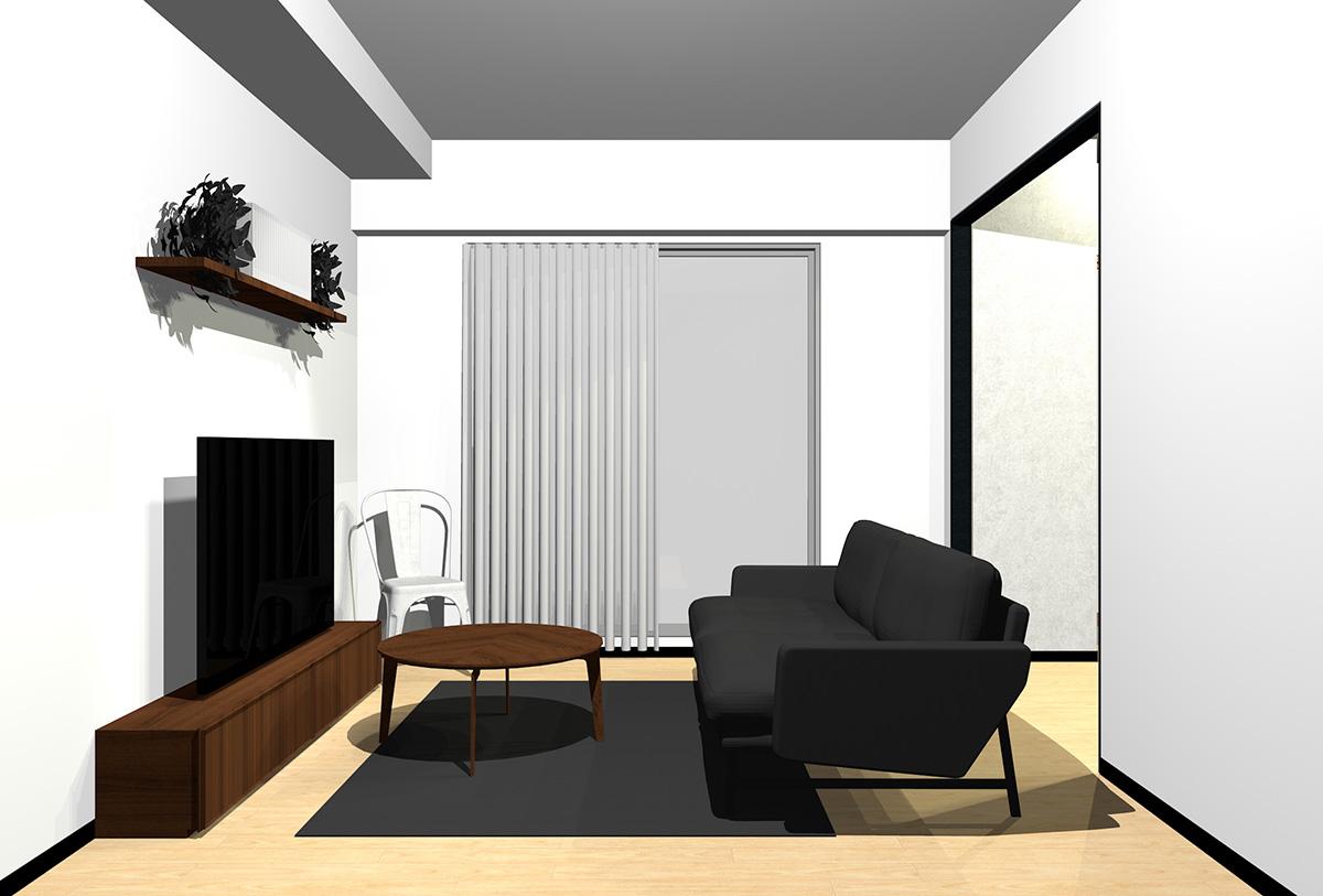 ライトブラウンの床とダークブラウンの木目の家具