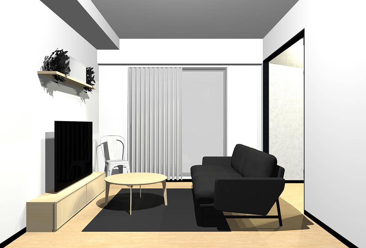 ライトブラウンの床とライトブラウンの木目の家具