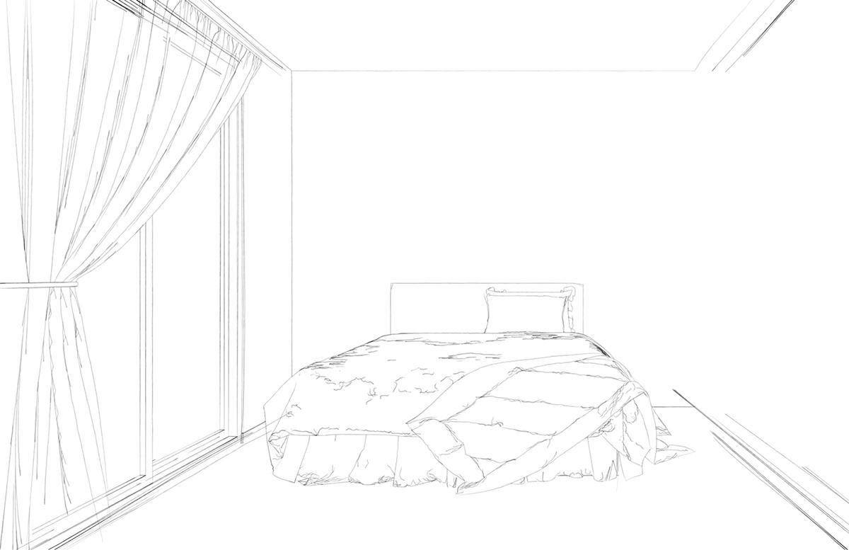 寝室のモノクロイラスト