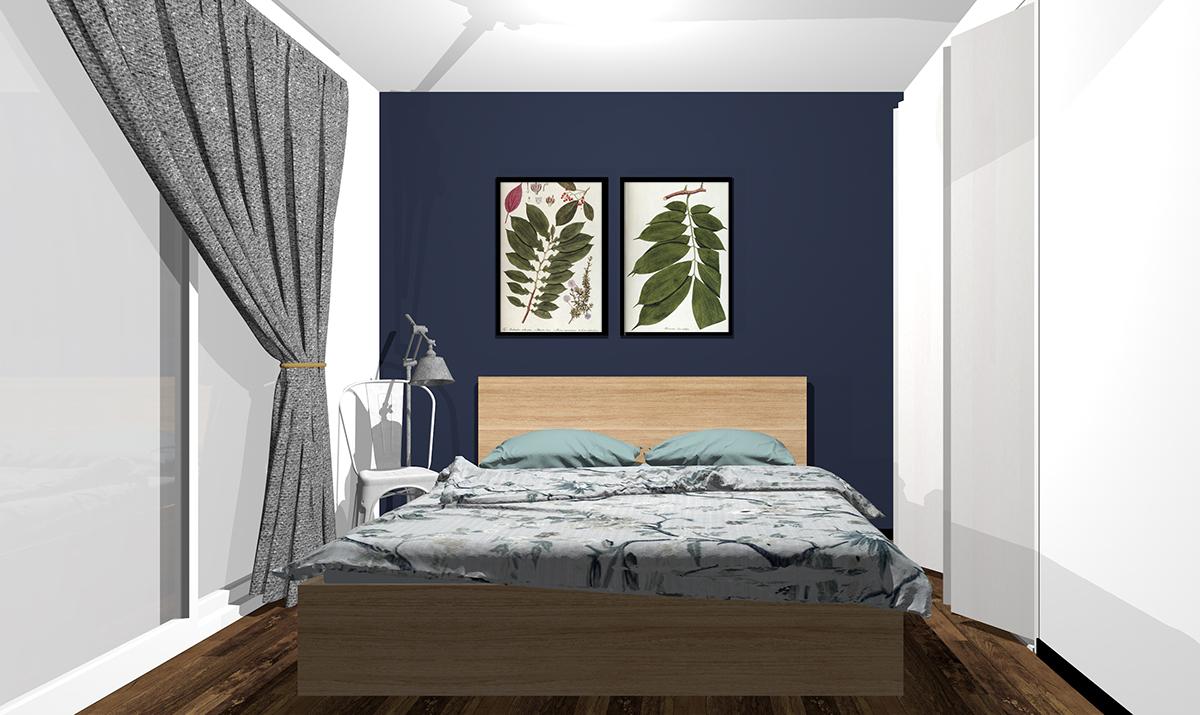 ダークブルー(ネイビー)の壁紙の寝室