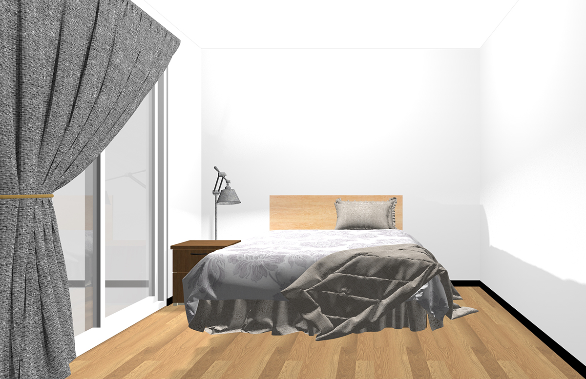 ベッドサイドにナイトテーブルとフロアランプを置いた寝室