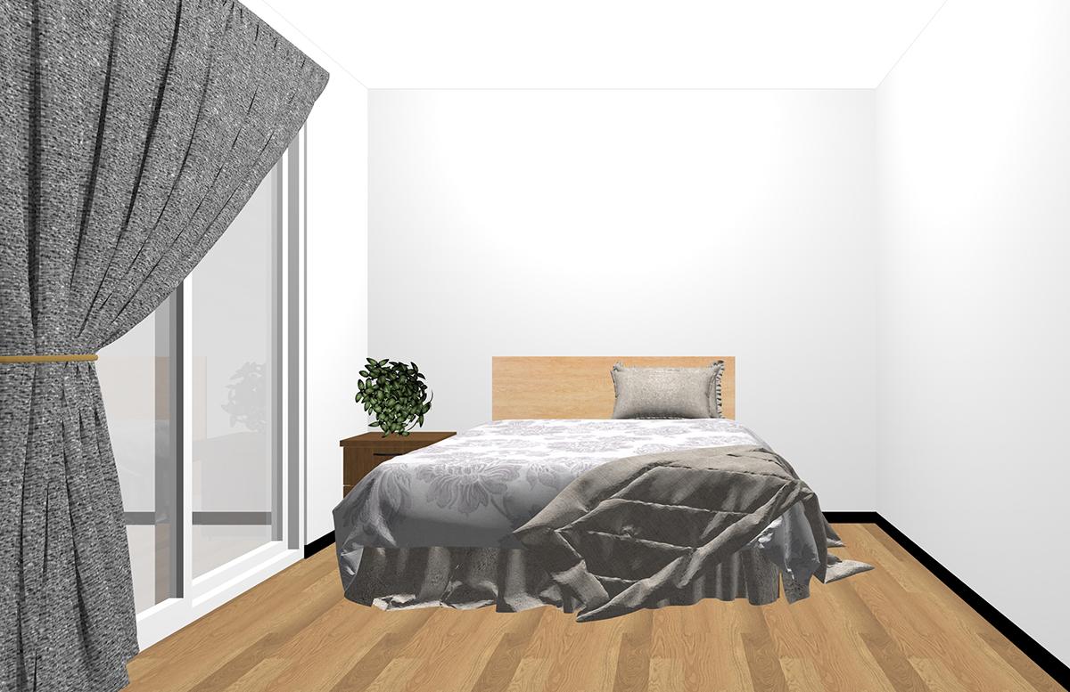 ベッドサイドにナイトテーブルを置いた寝室