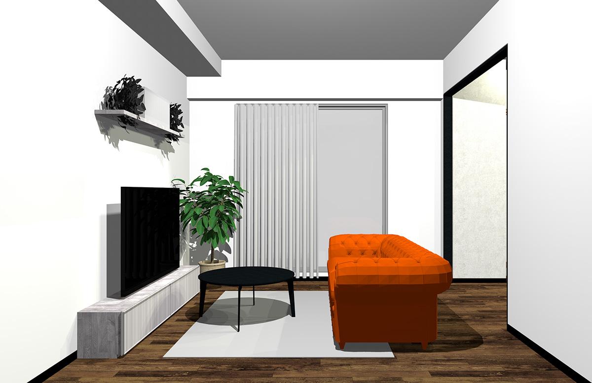 オレンジのソファの北欧インテリア