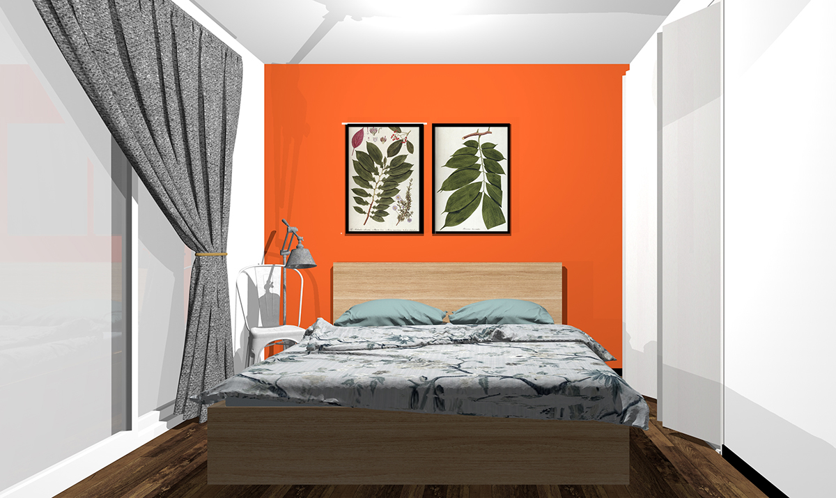 オレンジの壁紙の寝室