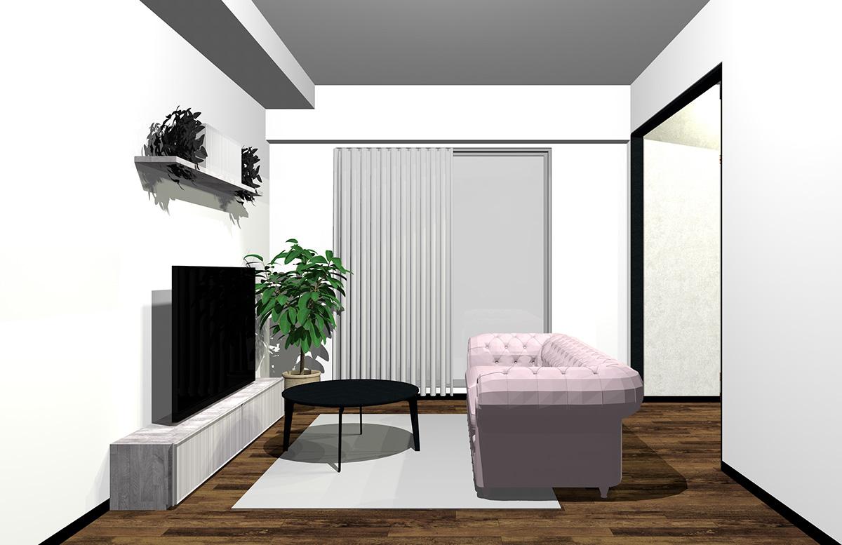 ピンクのソファの北欧インテリア