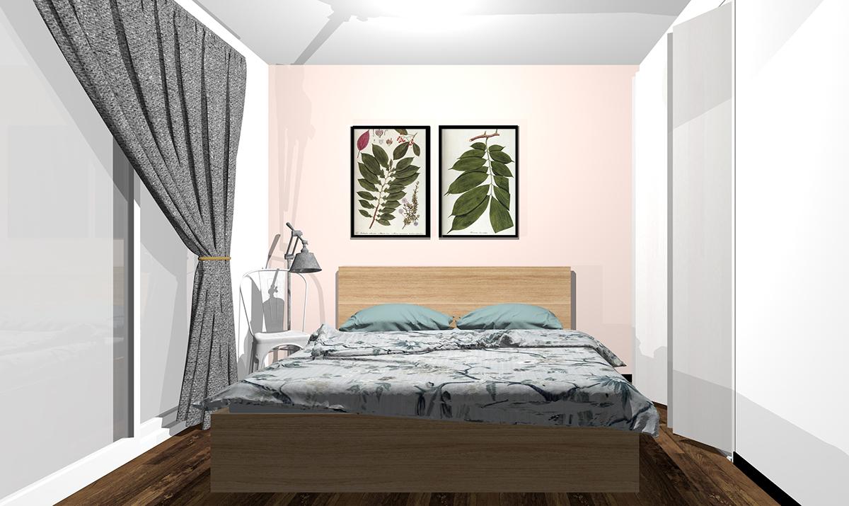 ピンクの壁紙の寝室