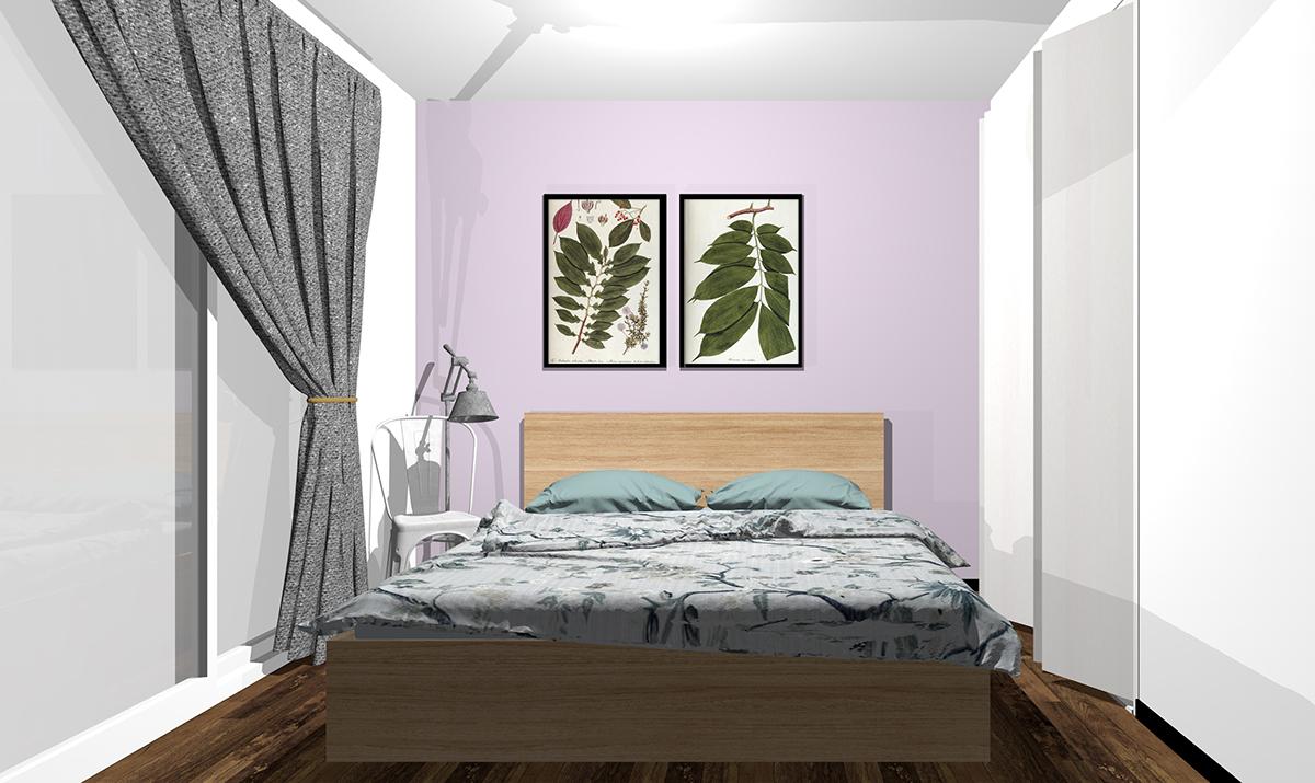 紫の壁紙の寝室