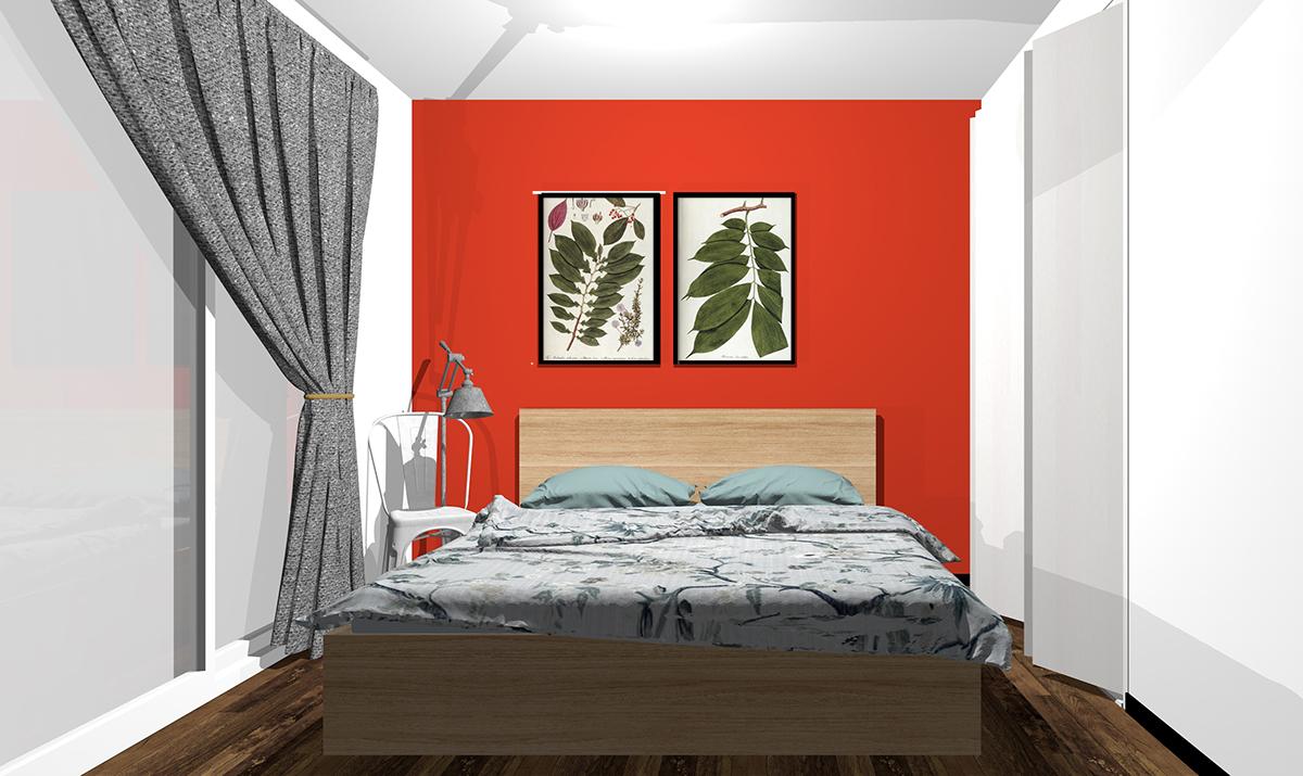 赤の壁紙の寝室