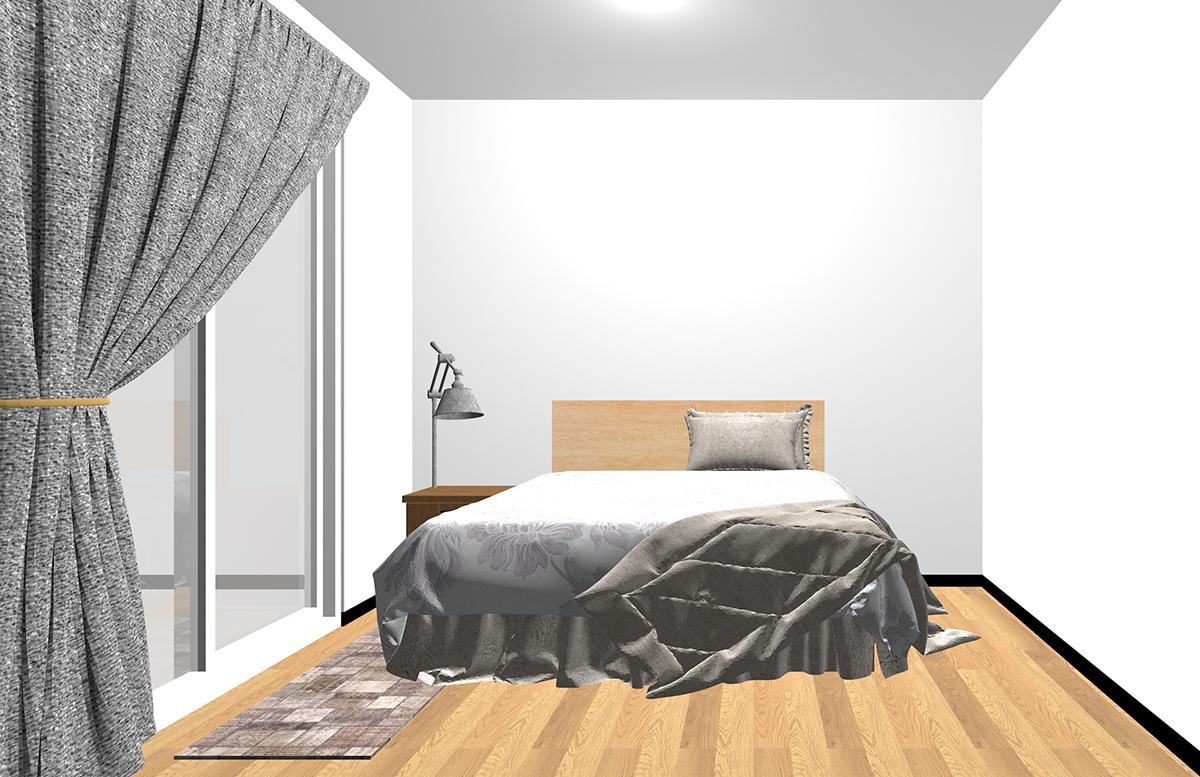 ベッドと掃き出し窓の間にラグを敷いた寝室