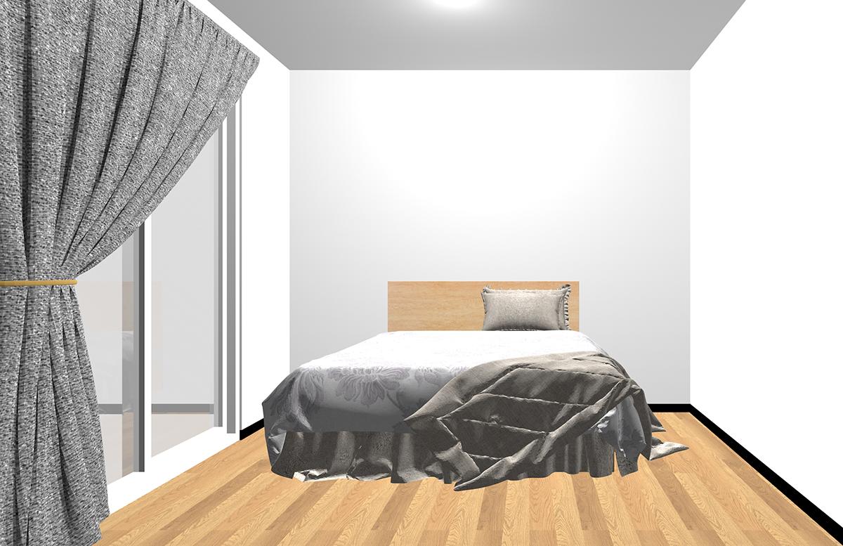 ベッドを置いただけの寝室