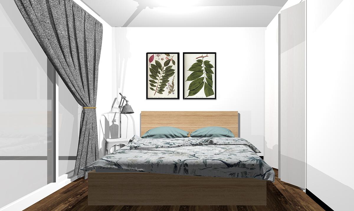 シンプルなホワイト系壁紙の寝室