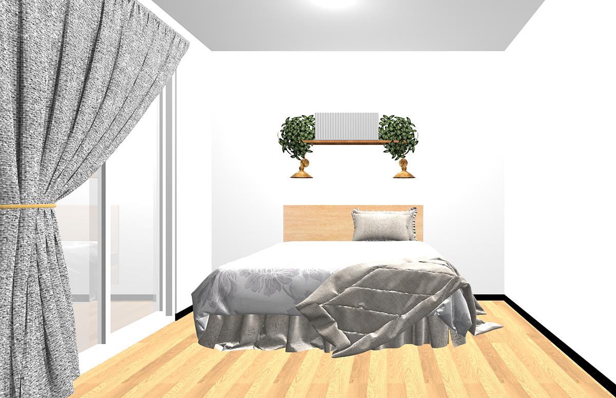 ベッドの頭側の壁面にウォールシェルフとブラケットランプをつけた寝室