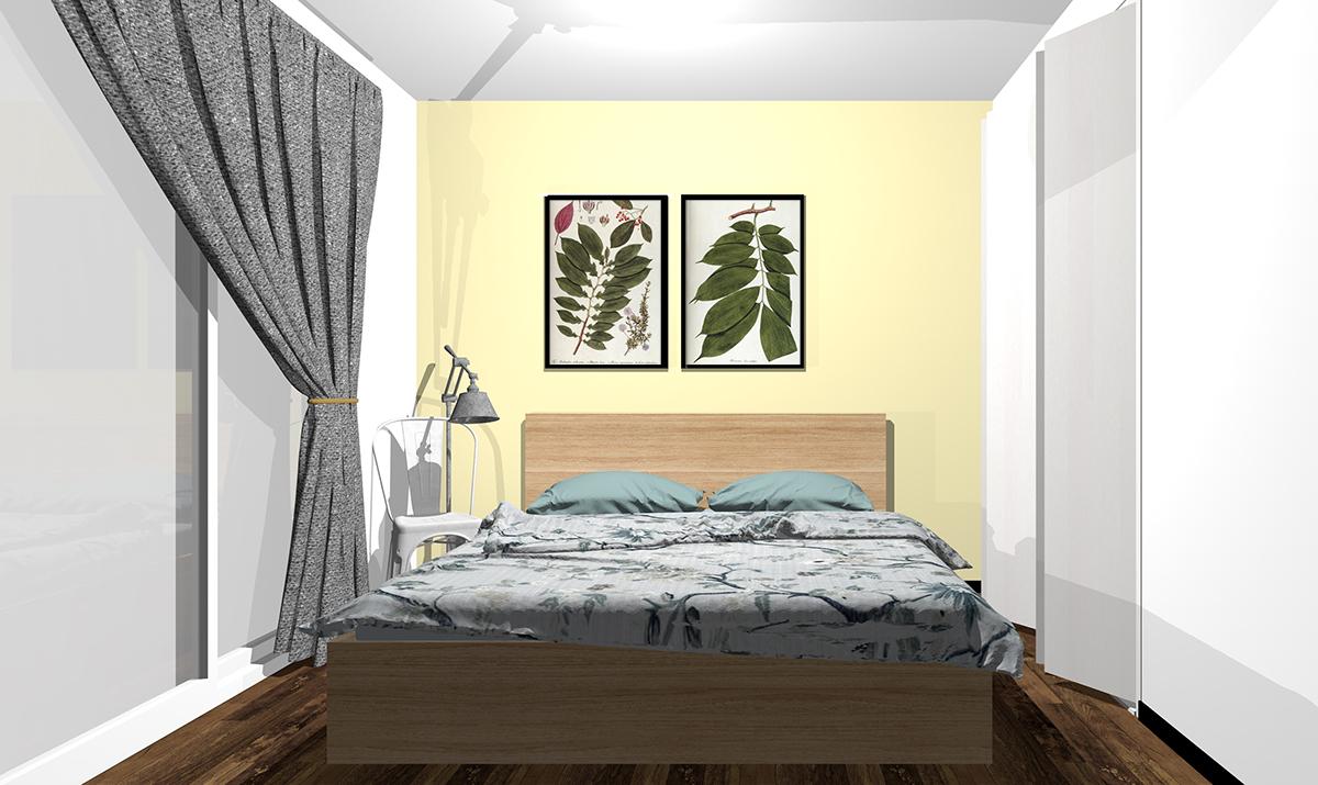 イエローの壁紙の寝室