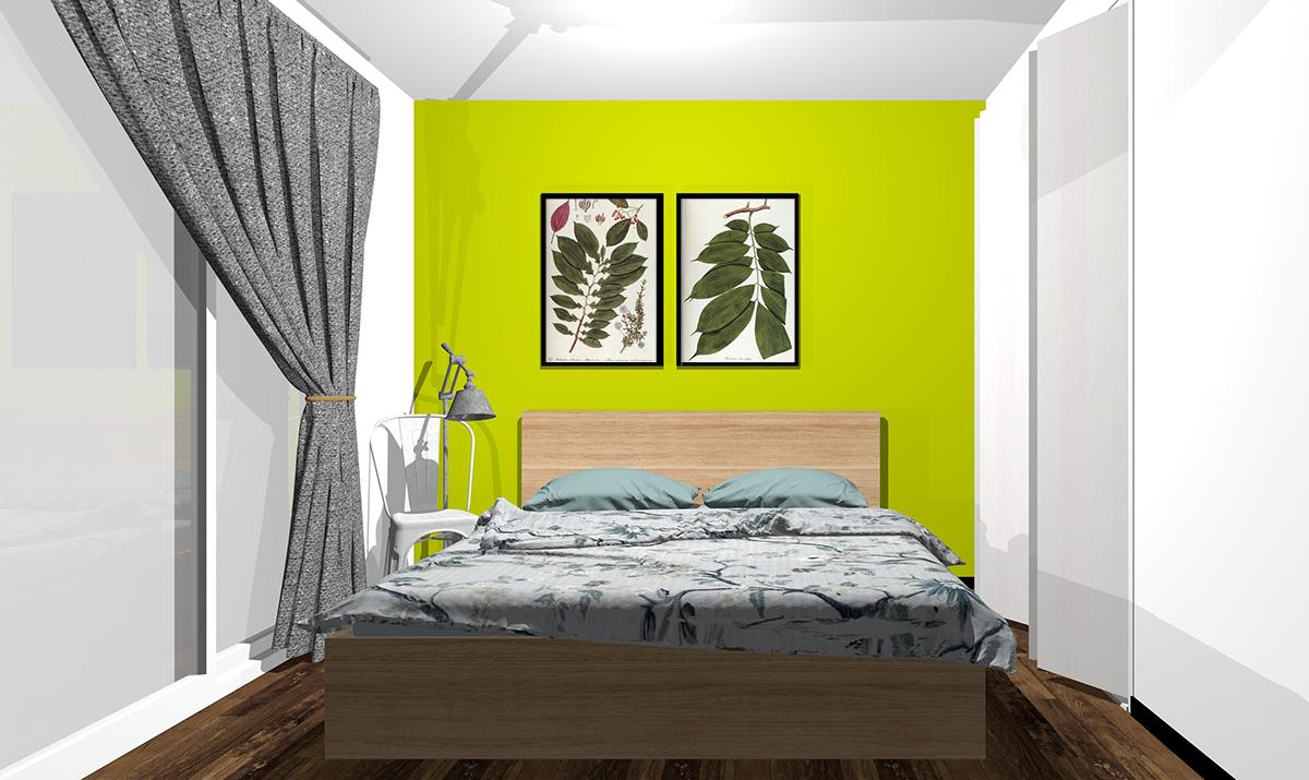 黄緑の壁紙の寝室