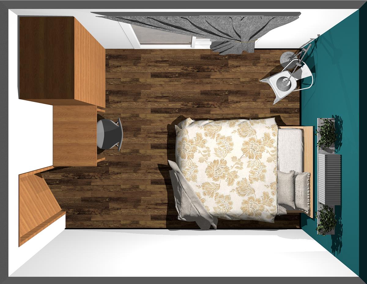 ベッドの足元に収納とデスクを置いた寝室