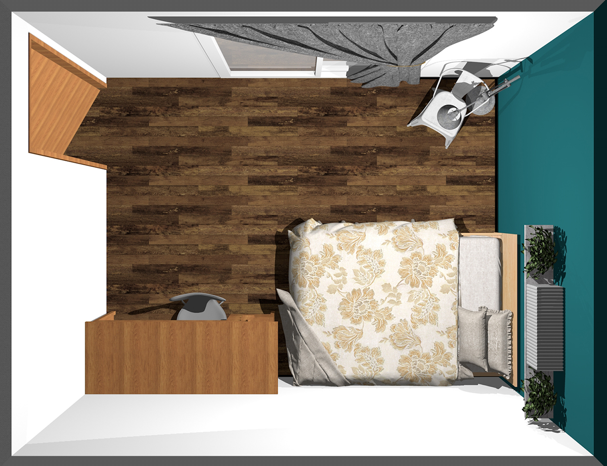 ベッドの長さ方向と並べるようにデスクを置いた寝室