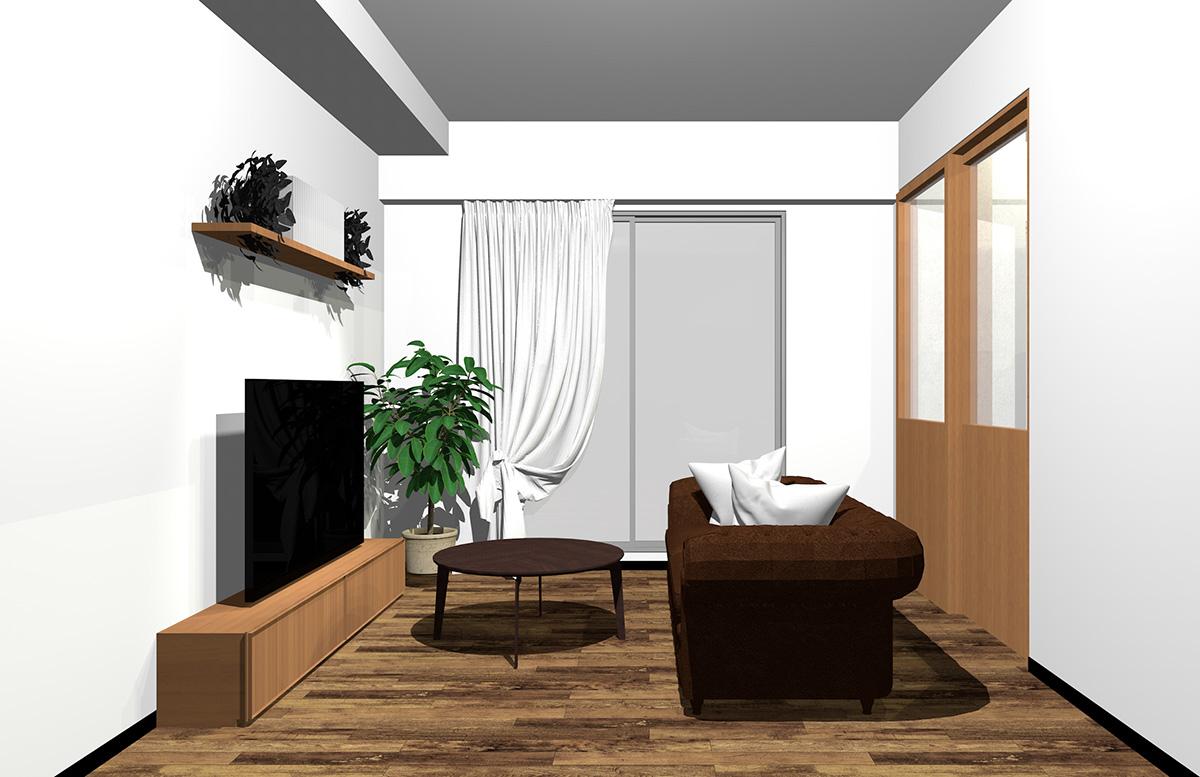 フローリングと建具、家具の一部をブラウン、ソファとコーヒーテーブルをダークブラウンまとめたインテリア
