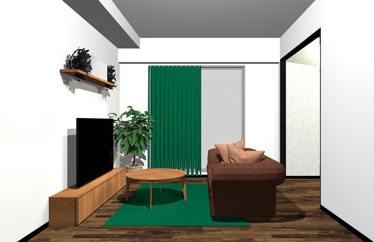 茶色と緑の配色のインテリア