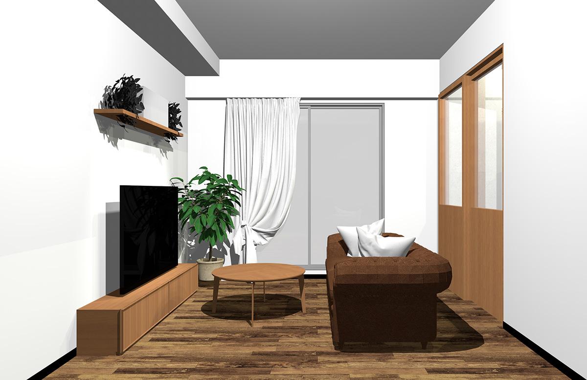 フローリング・建具・家具・ソファをブラウンでまとめたインテリア
