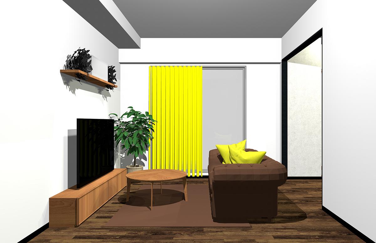茶色と黄色の配色のインテリア